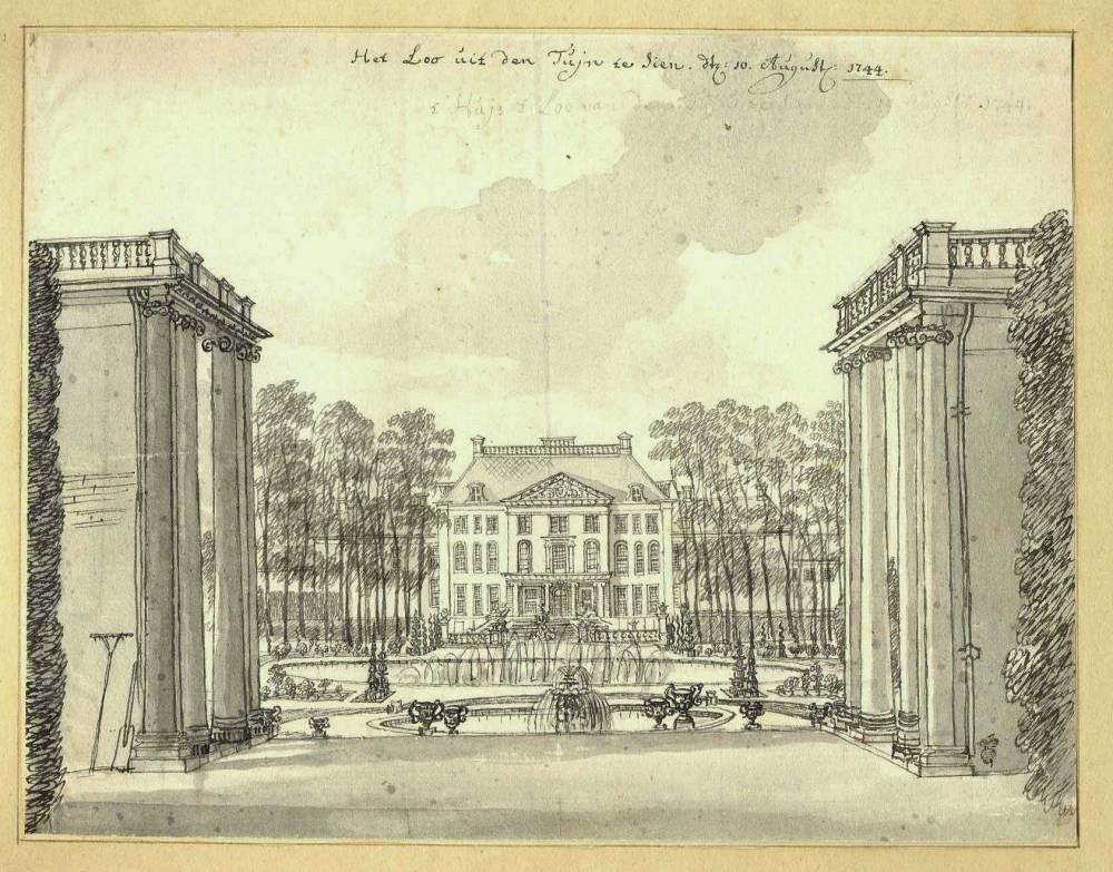 Paleis Het Loo in Apeldoorn. Tekening Jan de Beijer, 1744